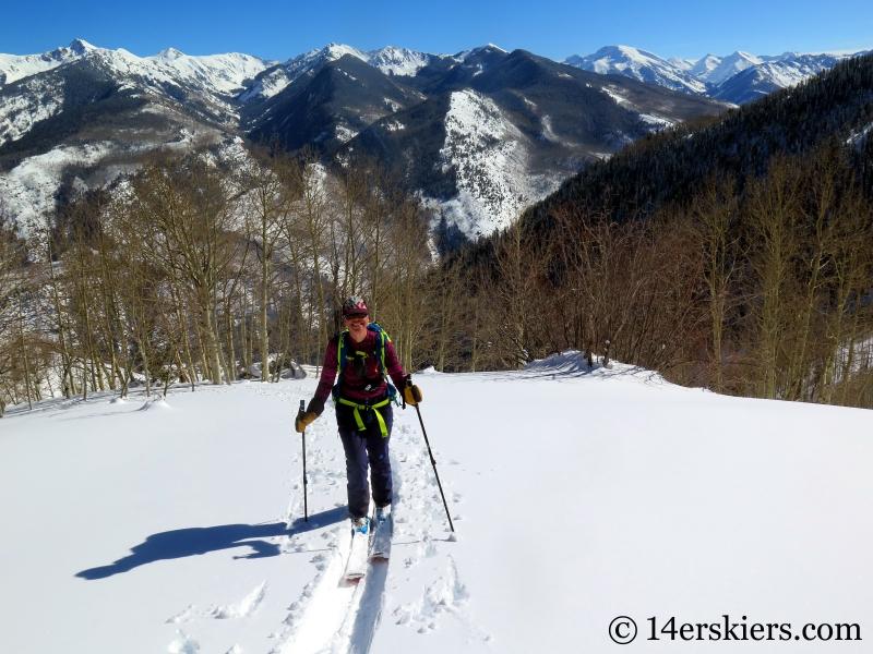 Ann Driggers backcountry skiing on Hunstman Ridge.