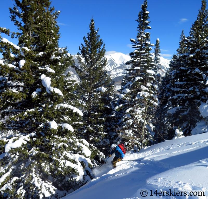Frank Konsella backcountry skiing on Hunstman Ridge.