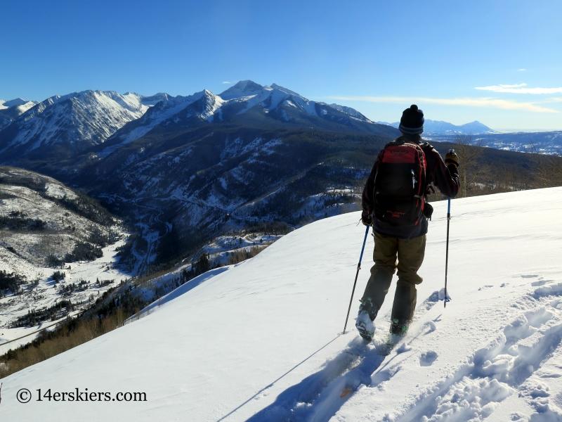 Backcountry skiing on Hunstman Ridge.
