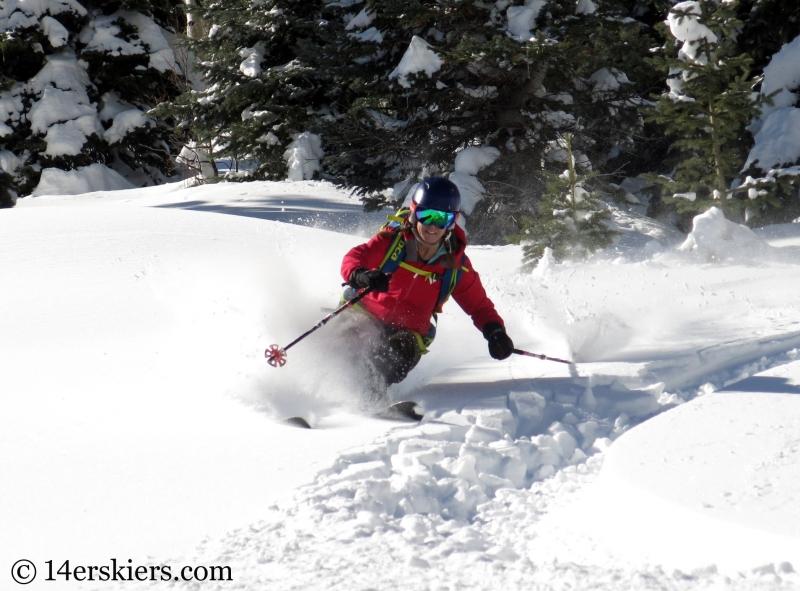 Brittany Konsella backcountry skiing on Huntsman Ridge
