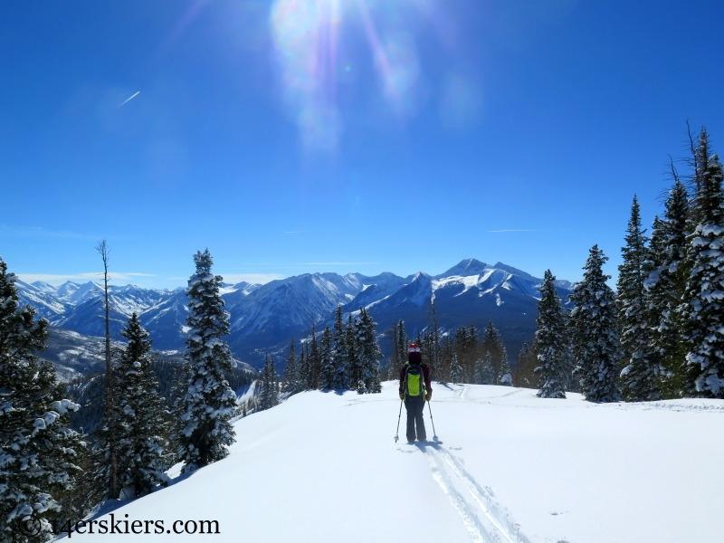 Ann Driggers backcountry skiing on Huntsman Ridge.