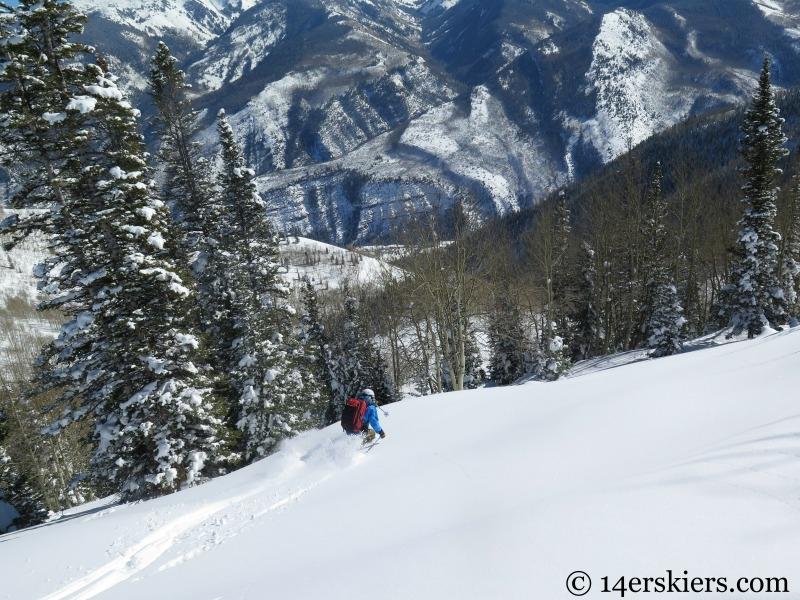 Frank Konsella backcountry skiing on Huntsman Ridge.