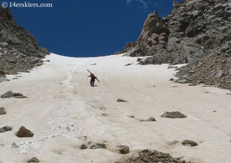 backcountry skiing on Huron Peak.