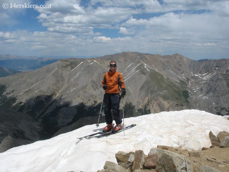 Frank Konsella on summit of Huron Peak, backcountry skiing.