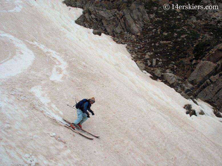 Brittany Walker Konsella backcountry skiing on Huron Peak