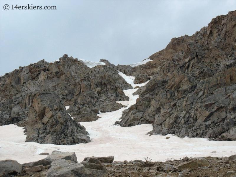 backcountry skiing line on Huron Peak.