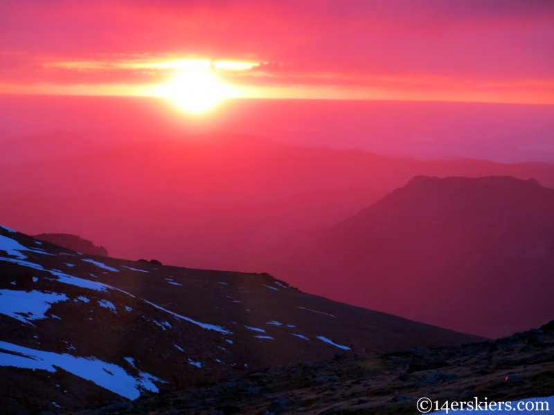 Sunrise seen from Longs Peak.