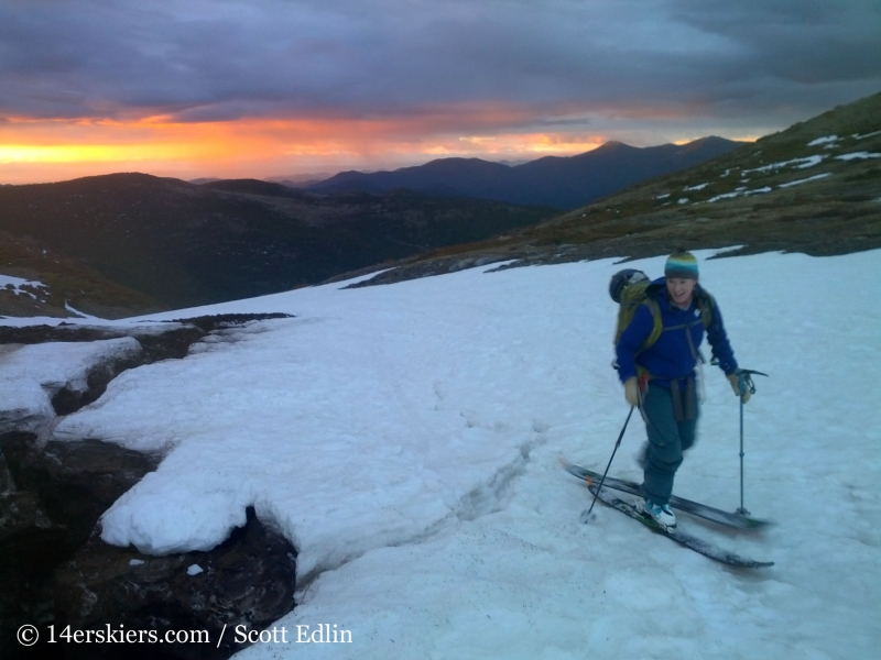 Brittany Konsella skinning in the morning on her way to backcountry ski on James Peak.