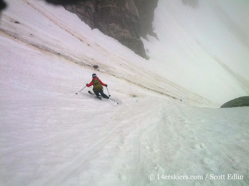 Brittany Walker Konsella backcountry skiing Starlight Couloir on James Peak.