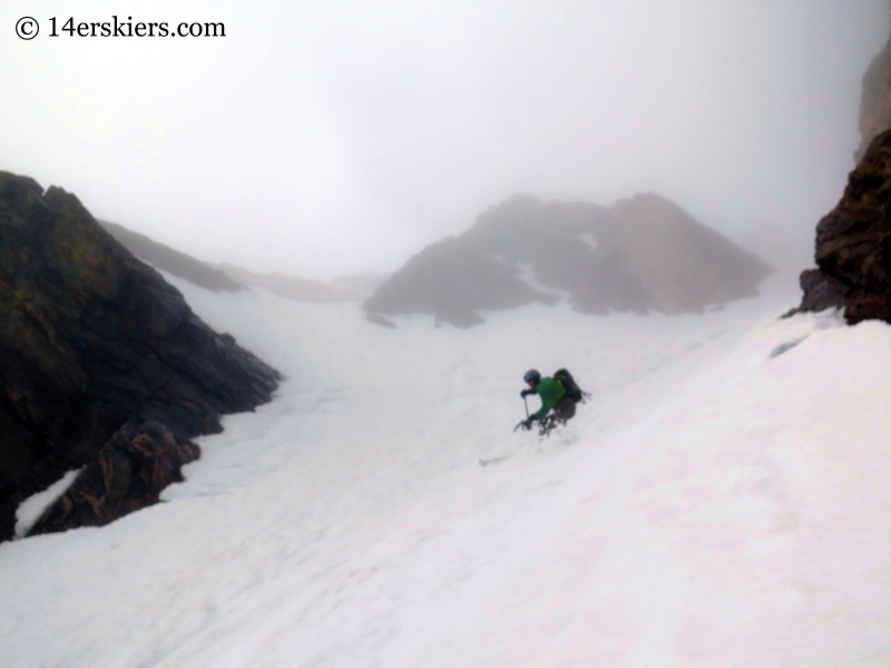 Scott Edlin backcountry skiing Starlight Couloir on James Peak.