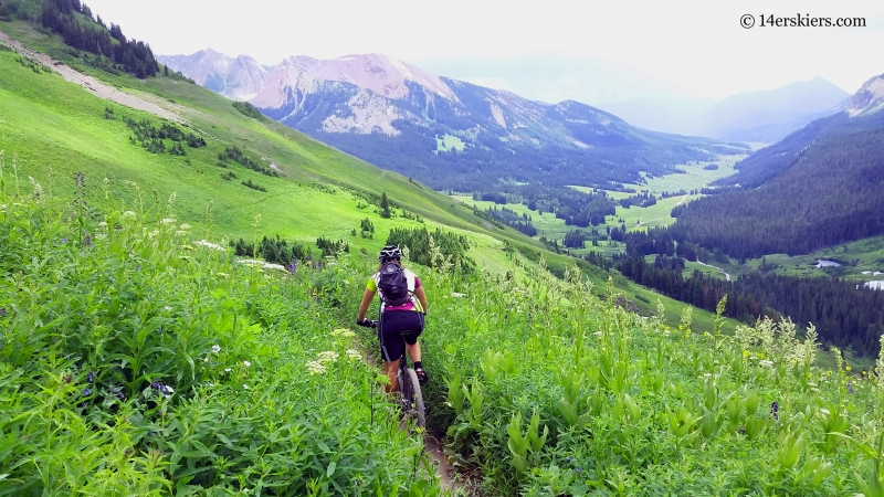 Sonya Bugbee mountain biking on Trail 401 near Crested Butte
