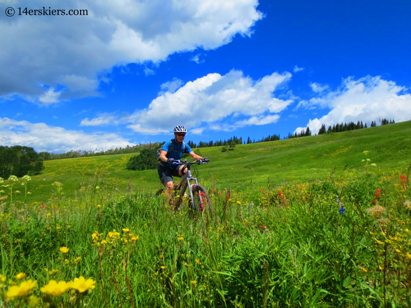 Brittany Konsella mountain biking on Point Lookout near Crested Butte