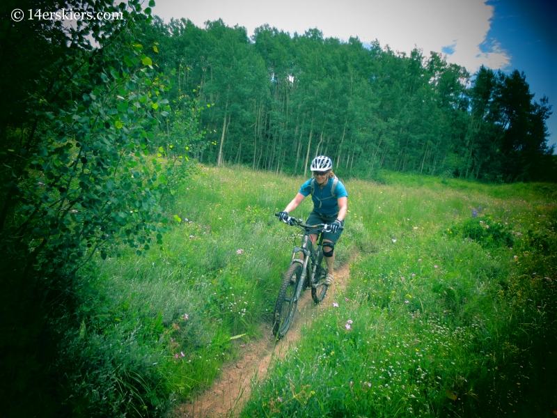 Brittany Konsella mountain biking on Strand Bonus near Crested Butte.