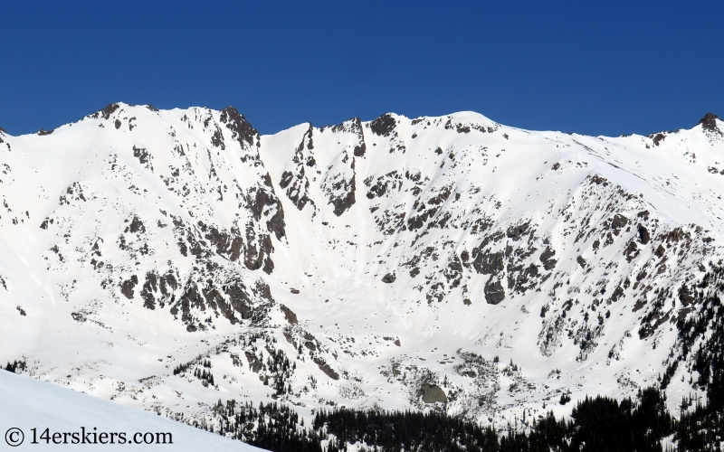 Backcountry skiing in the Gore Range, Colorado.