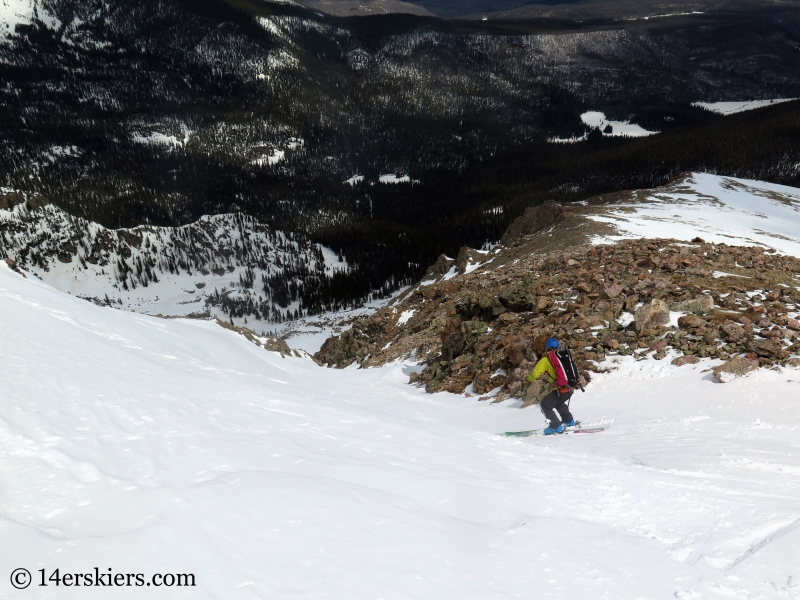 Backcountry skiing Keller Mountain North Couloir in the Gore Range, Colorado.