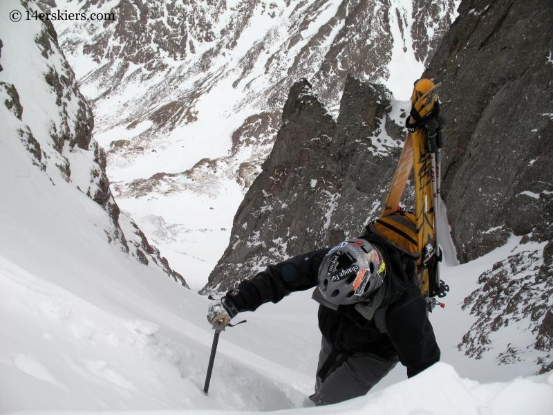 Climbing to ski Kit Carson.