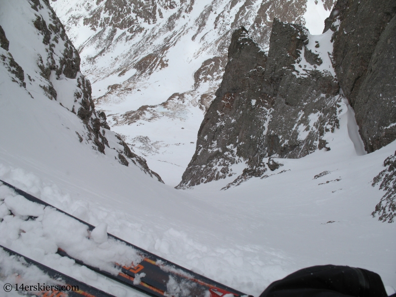 View down OB couloir on Kit Carson.