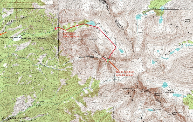 Map of our ski route for Kit Carson.