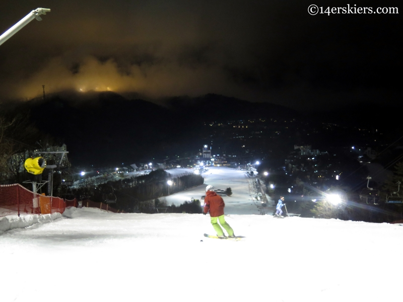 YongPyong night skiing in Korea