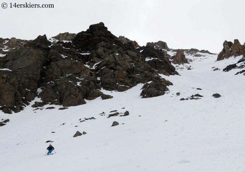 Natalia Moran backcountry skiing on Lackawanna Peak
