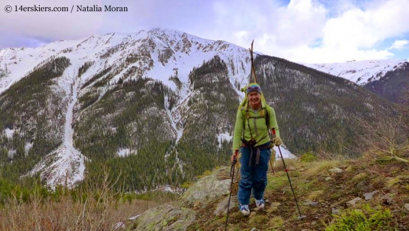 Brittany Walker Konsella hiking to go backcountry skiing on Lackawanna Peak.