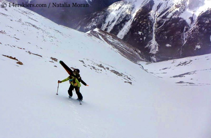 Brittany Walker Konsella backcountry skiing on Lackawanna Peak.