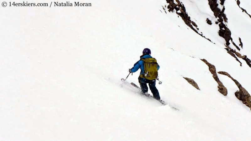 Brittany Walker Konsella backcountry skiing on Lackawanna Peak
