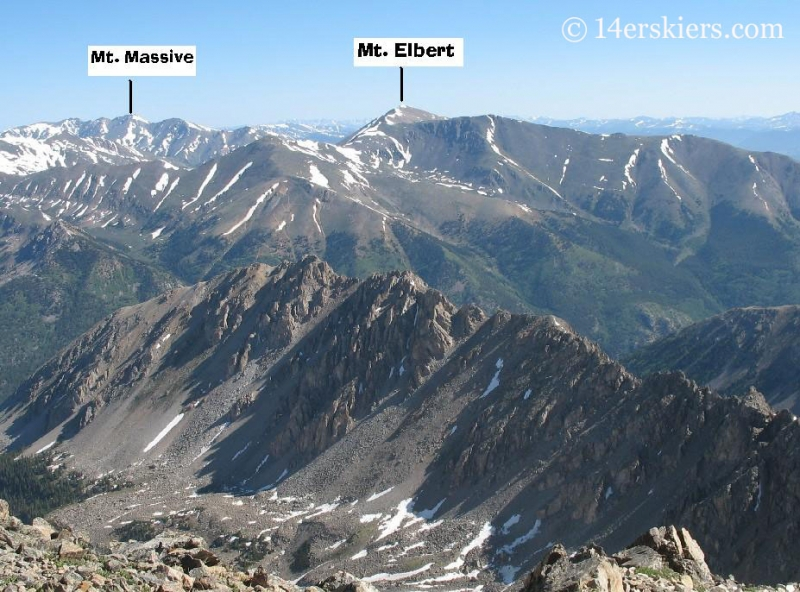 Mt Massive, Mt Elbert, and Ellingwood Ridge seen from the summit of La Plata.