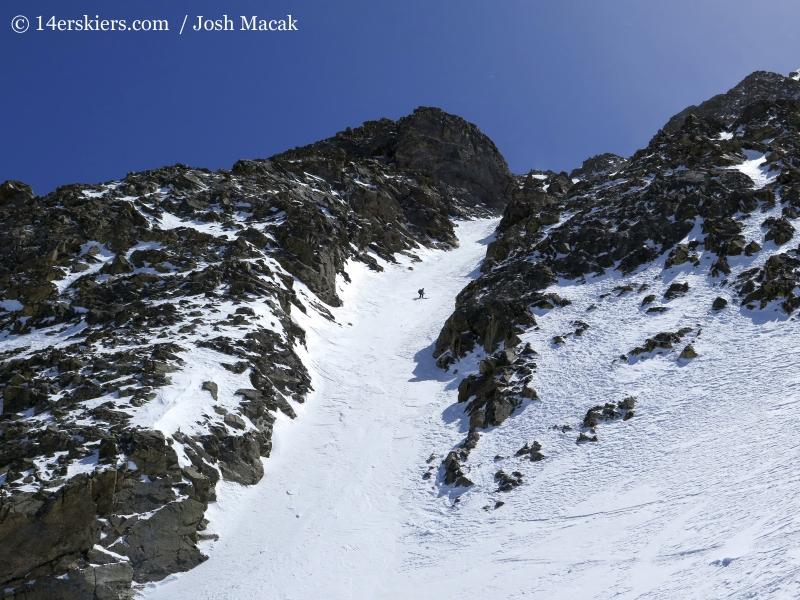 Brittany Konsella backcountry skiing on La Plata.