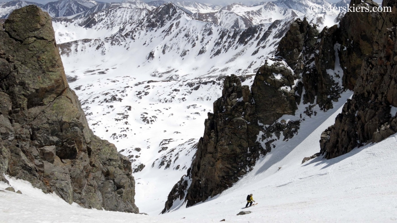 Mark Cavaliero backcountry skiing in the southeast couloir on La Plata