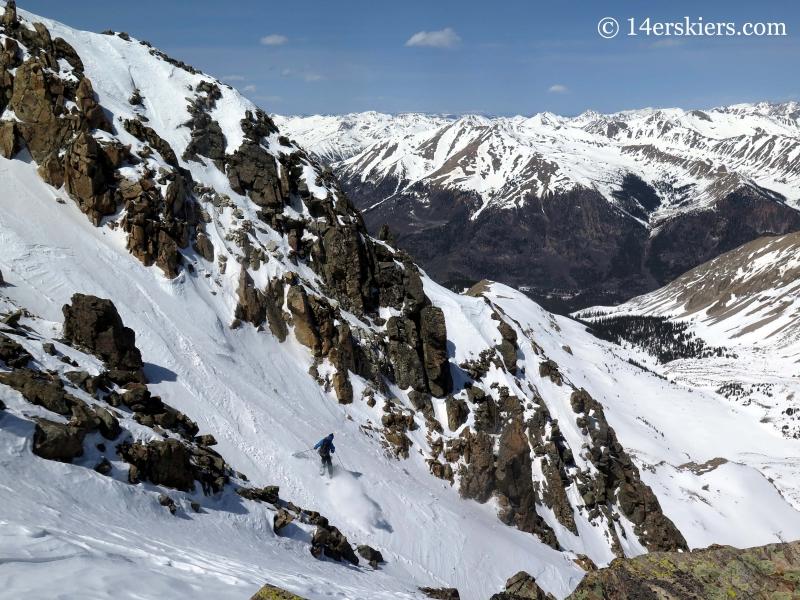 Pete Sowar backocuntry skiing on La Plata.