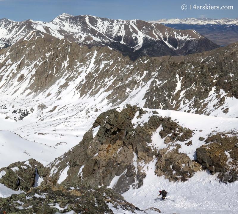 Jash Macak backcountry skiing on La Plata peak.