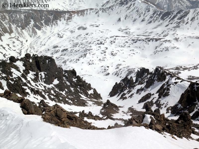 The southeast couloir on La Plata.