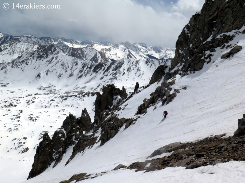 Frank Konsella backcountry skiing in the southeast couloir on La Plata