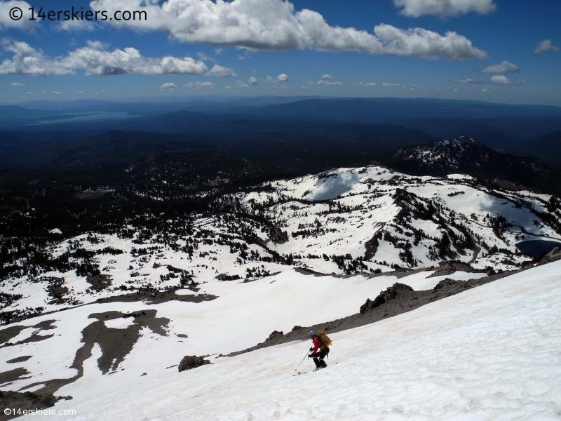 Backcountry skiing on Lassen Peak in California