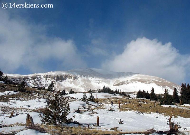 backcountry skiing on Mount Bross
