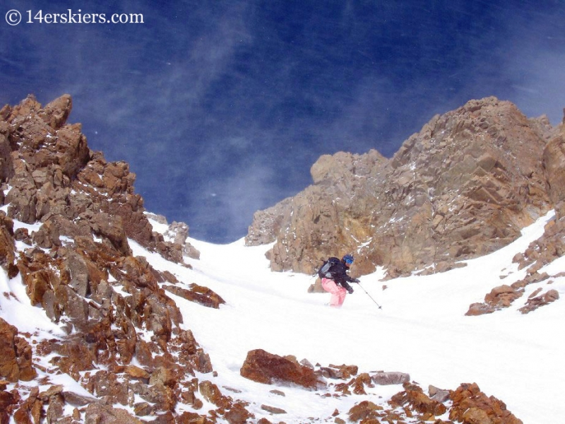 Brittany Walker Konsella backcountry skiing on Mount Lincoln.
