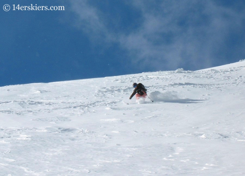 Brittany Walker Konsella backcountry skiing on Mount Lincoln