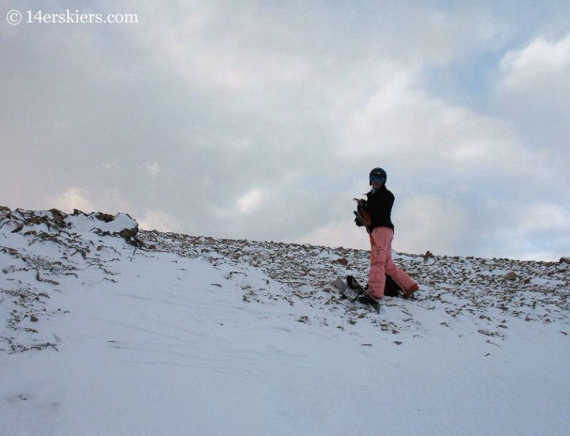 Brittany Konsella backcountry skiing on Mount Bross