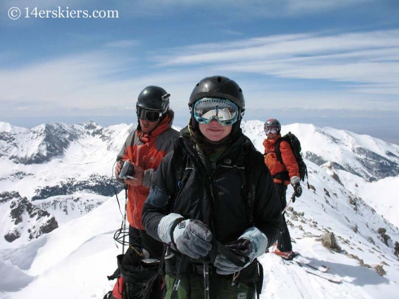 Frank Konsella, Jeremy Wegener, and Kellie Baker on the top of Mount Lindsey.