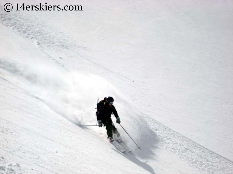 Kellie Baker backcountry skiing on Mount Lindsey