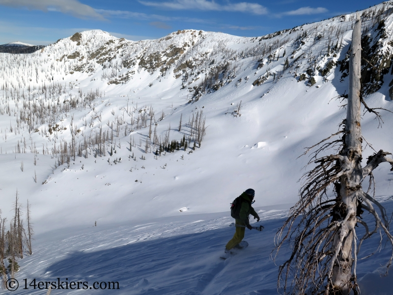 Marko Ross-Bryant backcountry snowboarding Little Agnes Mountain.