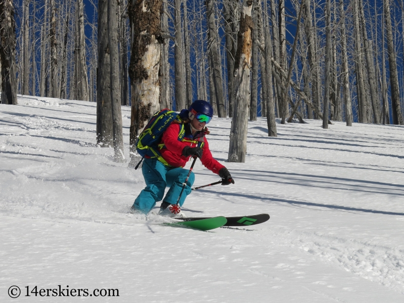 Brittany Konsella backcountry skiing Little Agnes.