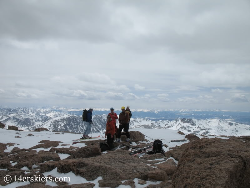 Ready to ski from the summit of Longs Peak.