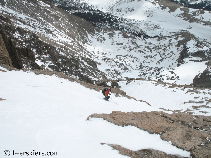 Frank Konsella backcountry skiing Keplinger's Couloir on Longs Peak.