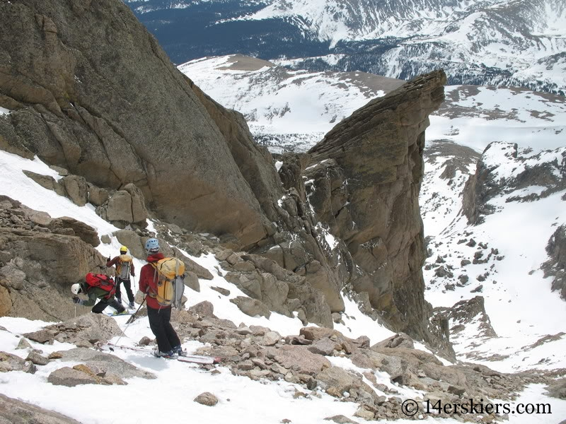 Backcountry skiing Keplinger's Couloir on Longs Peak.