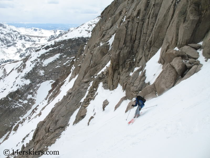Pete Sowar backcountry skiing Keplingers couloir on Longs Peak.