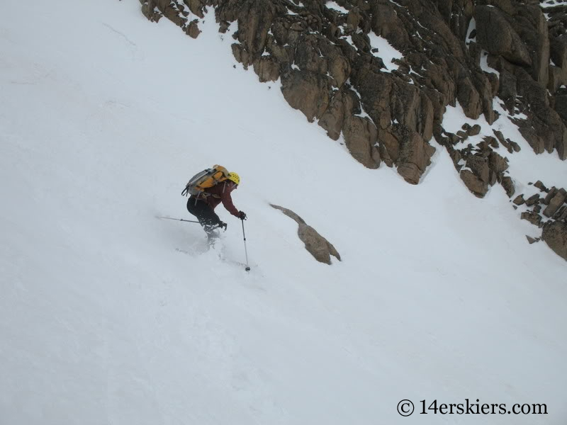 Chris Webster backcountry skiing Keplinger's Couloir on Longs Peak.