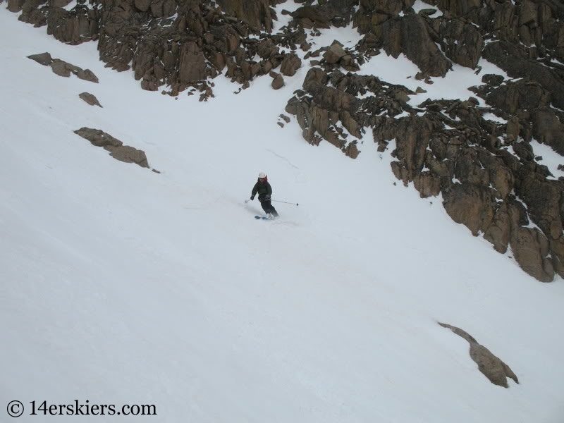 Norm backcountry skiing Keplinger's Couloir on Longs Peak.