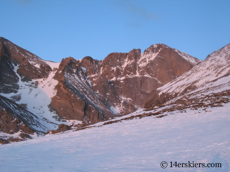 View of the Loft and Diamond Face on Longs Peak from Chasm Lake.